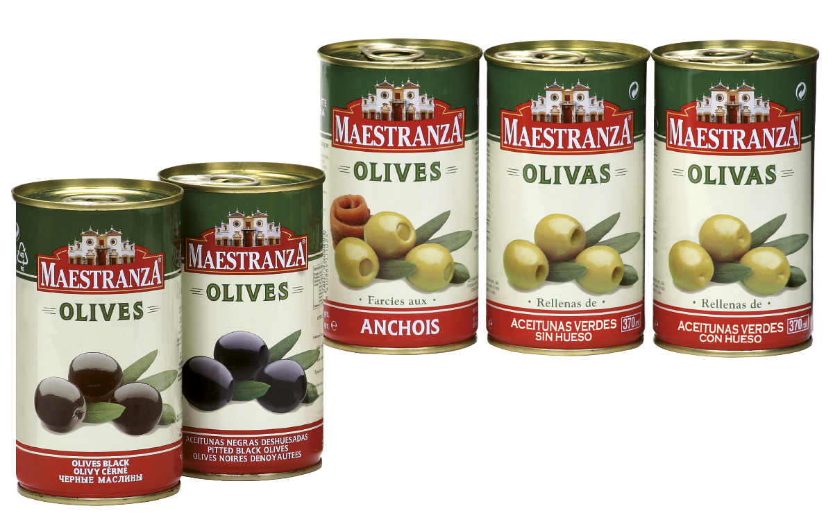 GREEN AND BLACK OLIVES IN TIN CAN