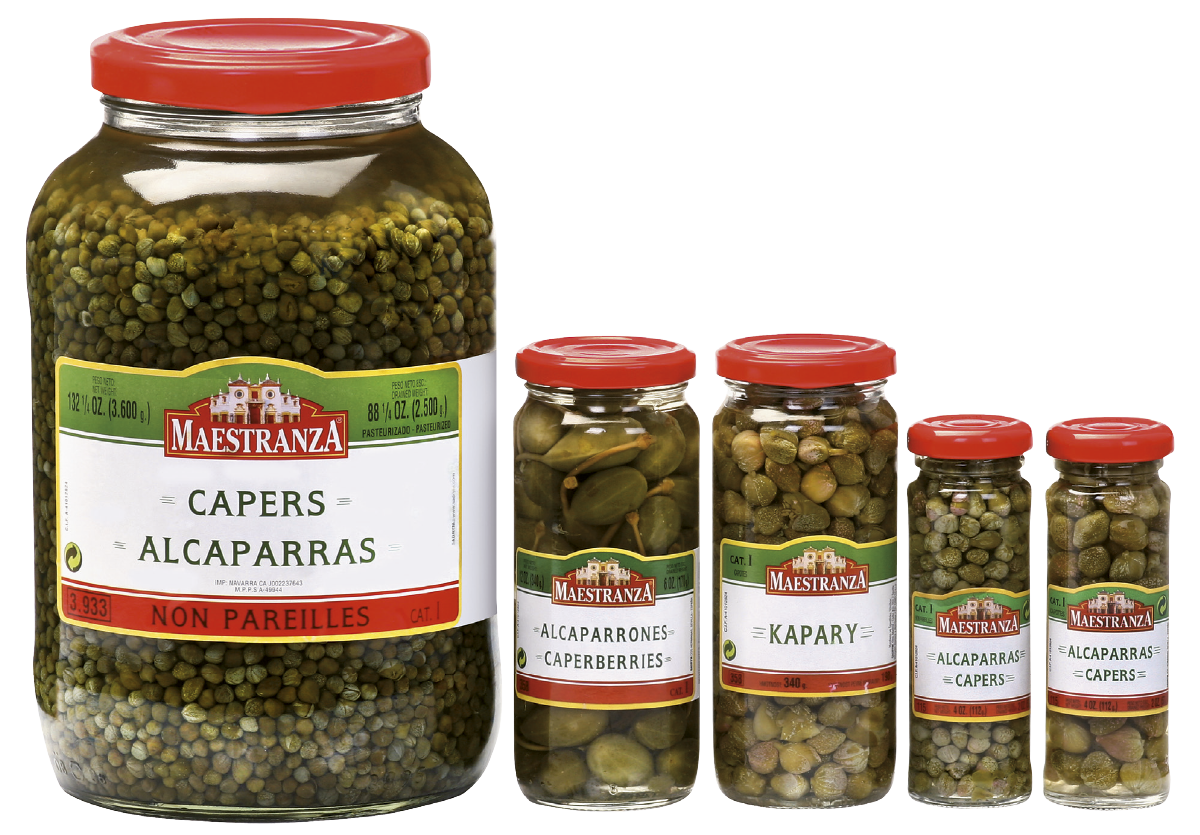 CAPERS AND CAPERBERRIES IN GLASS JAR