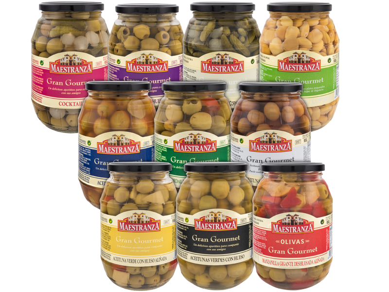 "OLIVES IN GLASS JAR ""GRAN GOURMET"""